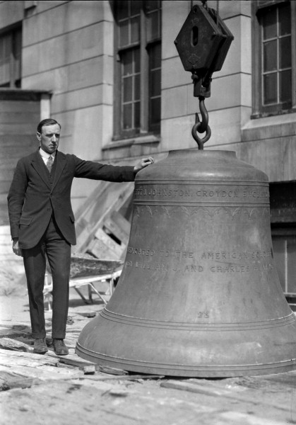 The largest bell is nearly 6 feet high and weighs 7,840 lbs.