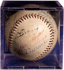 Baseball signed by lou gehrig