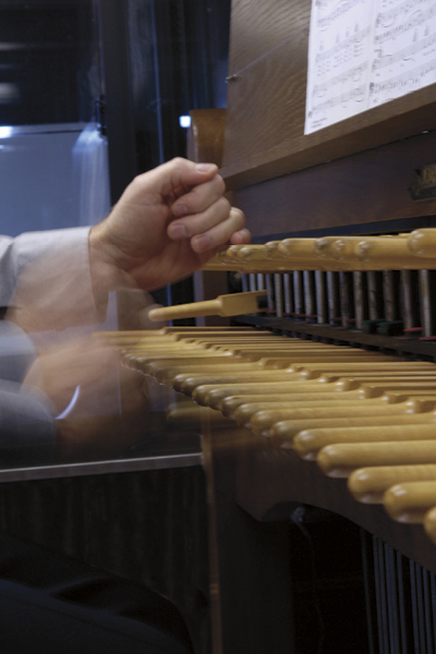 Wooden batons serve the same purpose as a keyboard.